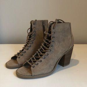 Block heel lace up booties